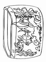 Coloring Aquarium Fish Tank sketch template