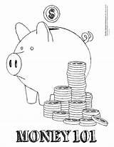 Money Coloring Bank Printable Sheet Coin Piggy Teach Ways sketch template