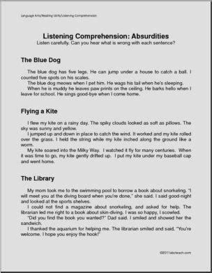 listening absurdities primary comprehension  abcteach