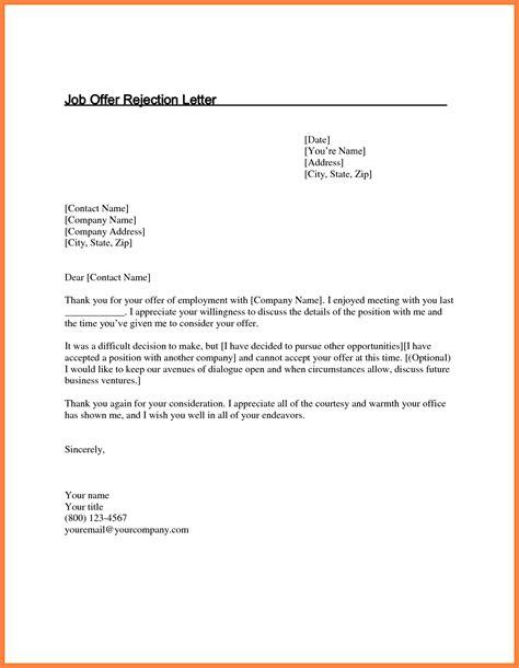 job offer rejection letter marital settlements