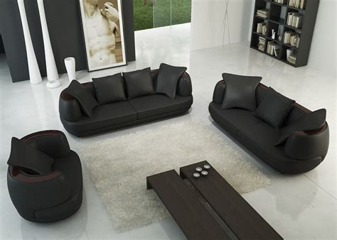 canap 3 places noir deco in ensemble canape 3 2 1 places noir en cuir
