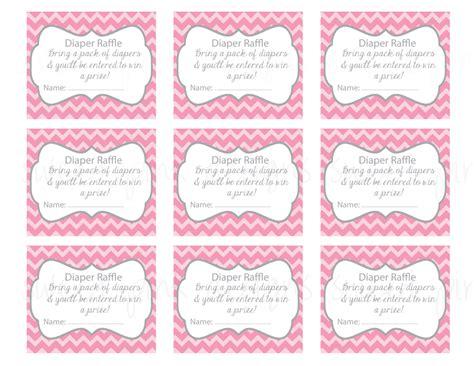 diaper raffle ticket grey  pink chevron