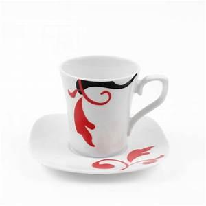 Service Tasse à Café : tasse caf 100 ml avec soucoupe carr e baroque en porcelaine ~ Teatrodelosmanantiales.com Idées de Décoration