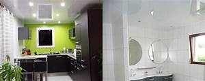 cool plafond tendu pvc pour cuisine et salles de bains With comment coller un miroir de salle de bain