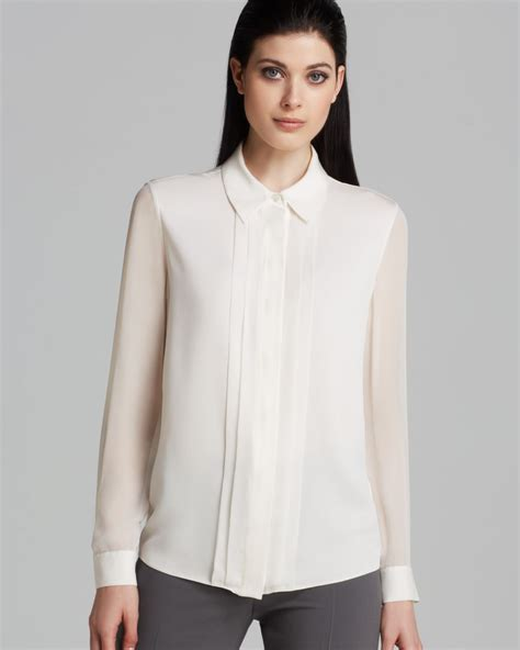 white blouse sleeve armani blouse sheer sleeve in white lyst