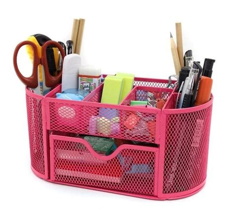 Mesh Desk Organizer Office Supplies Pen Holder Storage Box
