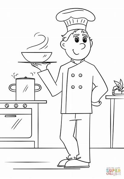 Coloring Chef Pages Printable Drawing Community Helpers