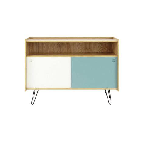meuble tv vintage en bois blanc et bleu l 105 cm twist