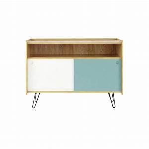 Meuble Tv Vintage : meuble tv vintage en bois blanc et bleu l 105 cm twist maisons du monde ~ Teatrodelosmanantiales.com Idées de Décoration