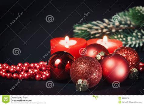 christmas decorations   black background stock photo