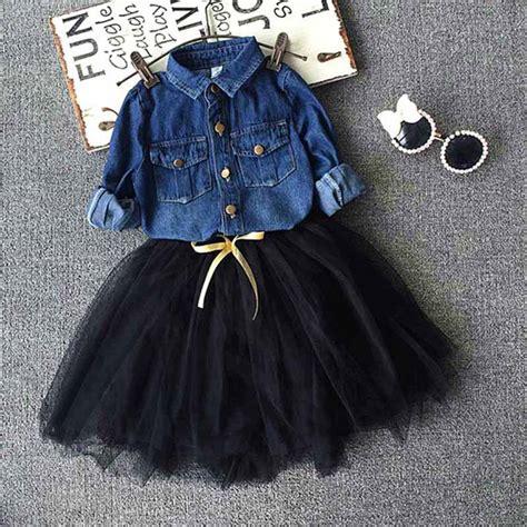 Toddler Kids Baby Girls Outfits denim shirt+tutu skirt set2 7y girls Clothes Setchildren ...