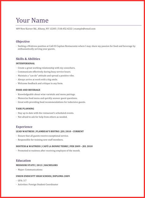 waitress application good resume format