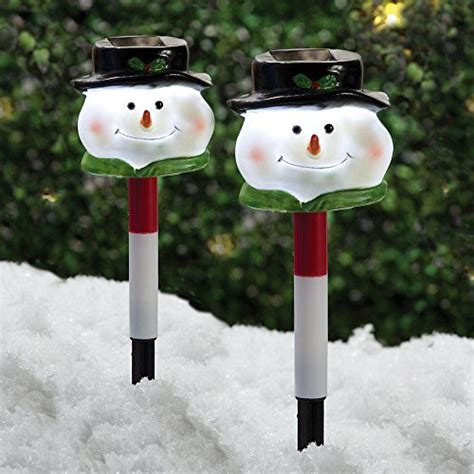tall christmas light stakes yard light decoration set of two 2 12 inch solar snowman garden stakes