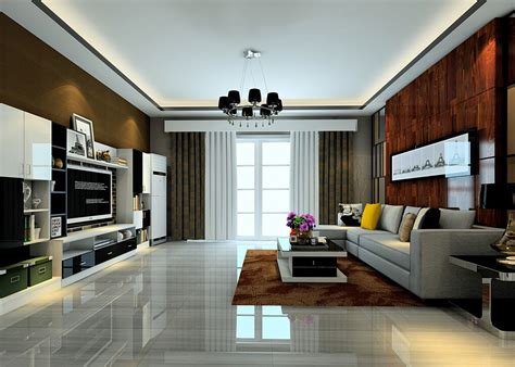 Large Living Room With Tiled Floors And Curtains Rendering