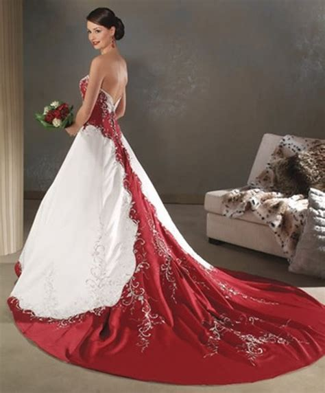 Permalink to Red And White Wedding Gowns