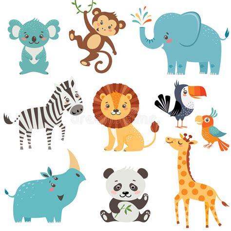 cute animals birthday wishes stock vector illustration