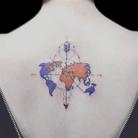 world map tattoo ideas  travel lovers tattoos