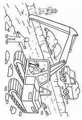 Digger Coloring Excavator Pages Printable Cartoon Getcoloringpages Construction Tractor sketch template