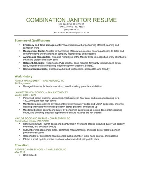 Janitor Cv Sle by Janitor Resume Exles 25 Images Entry Level Janitor