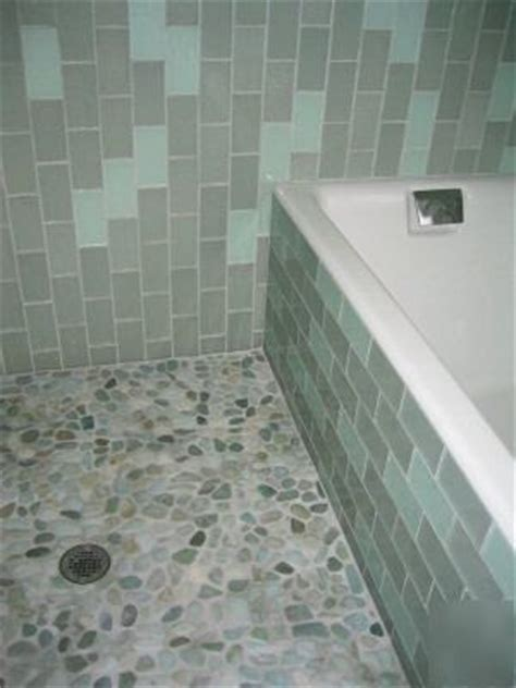 green turquoise pebble mosaic tiles