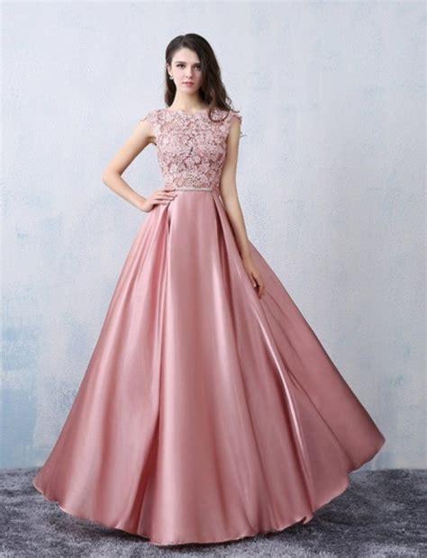 chic   scoop pink satin applique modest prom dress