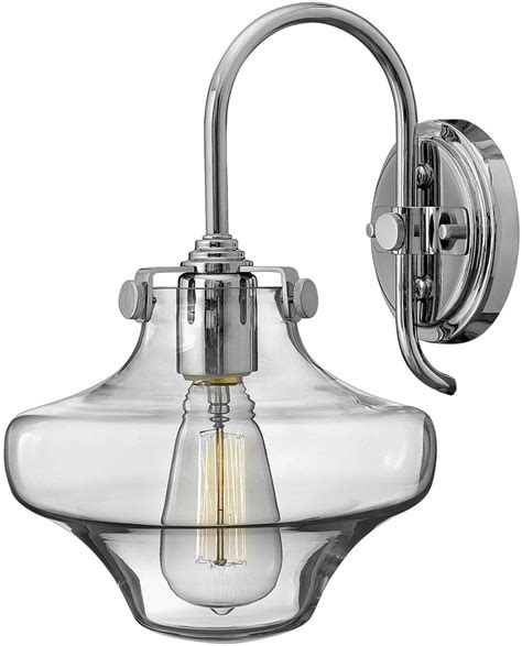 Hinkley Congress Lighting by Hinkley Congress Chrome Wall Light With Glass Cowl Shade