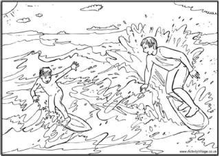 swimming colouring pages