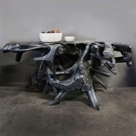 root console reclaimed teak coffee table black teak