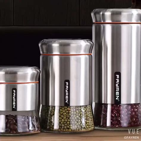 vintage set of jars stainless wholesale kitchen stainless steel glass food storage