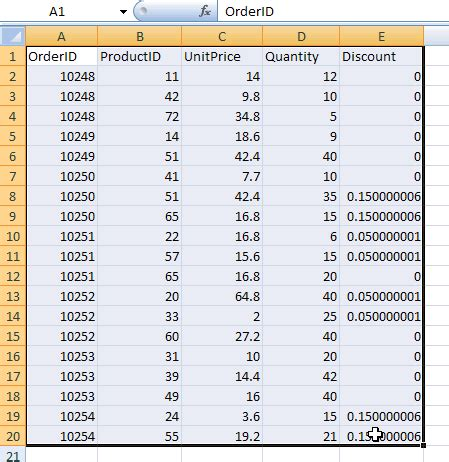 excel working  tables