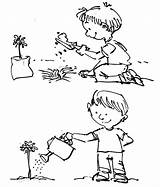 Coloring Plant Watering Pages Tree Arbor Planting Plants Drawing Seed Growing Template Plantation Sketch Seeds Place Clipart Flower Child Tiny sketch template