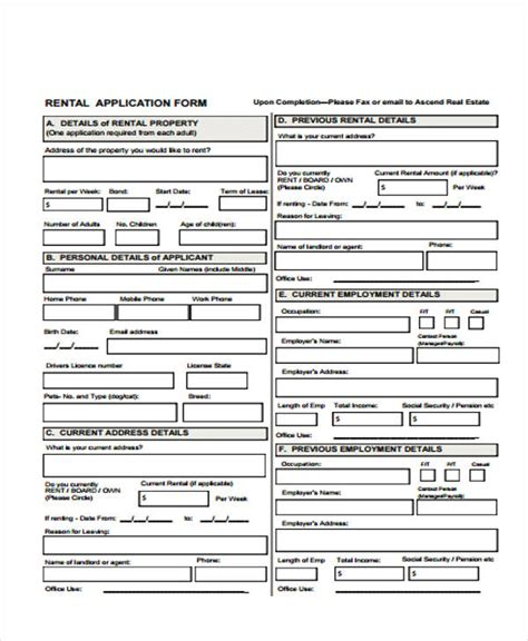 on site rental application form 26 free rental application forms