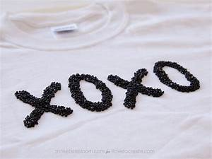 how to glue beads to a shirt diy beaded tee ilovetocreate With adhesive letters for t shirts