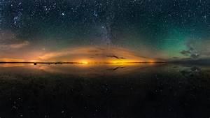 Salt lake beautiful night, sky, stars, water reflection ...