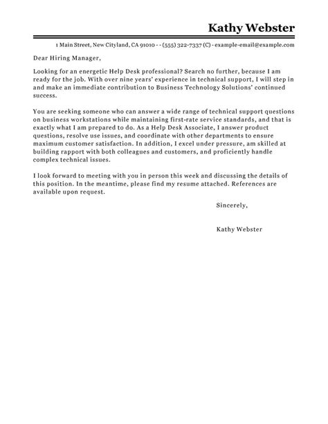 Help Desk Cover Letter With Experience by Best Help Desk Cover Letter Exles Livecareer