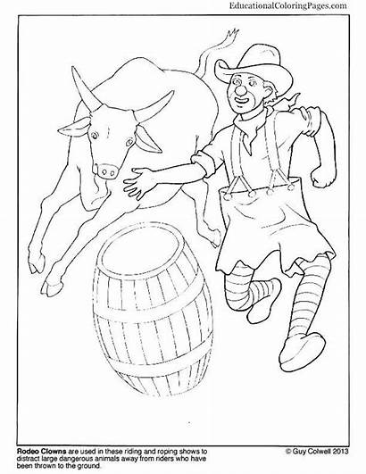 Rodeo Coloring Clown Pages Clowns Bull Riding