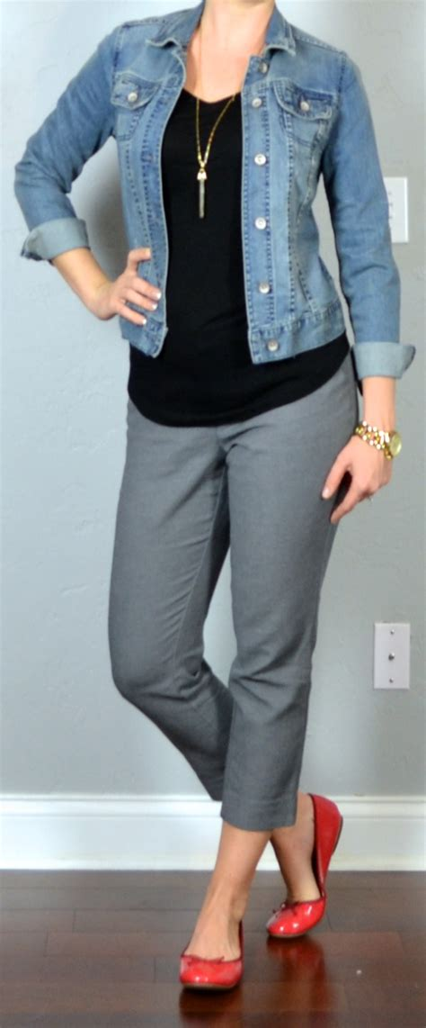 Outfit post jean jacket black shirt grey tailored ankle pants red ballet flats | Outfit Posts