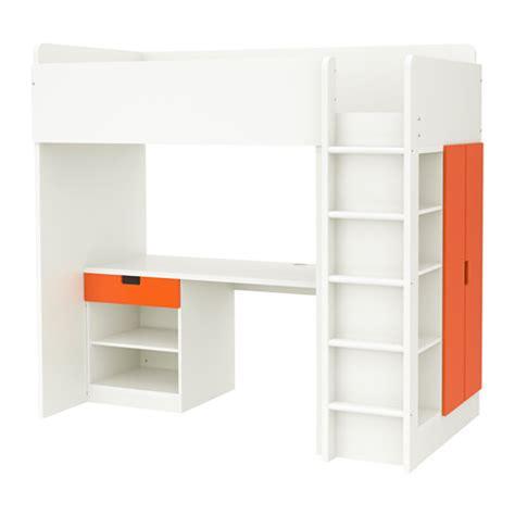 stuva loft bed with 1 drawer 2 doors white orange ikea