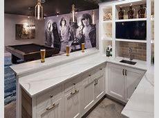 Basement Wet Bar with Built In Shelves Transitional