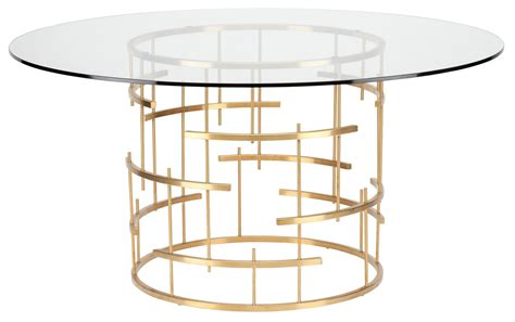 """Round 59"""" Tiffany Clear Glass And Gold Metal Dining Table"""