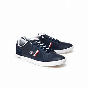 Lacoste NAVY/WHITE Men's Europa Leather Trainers 34SPM0012 ...