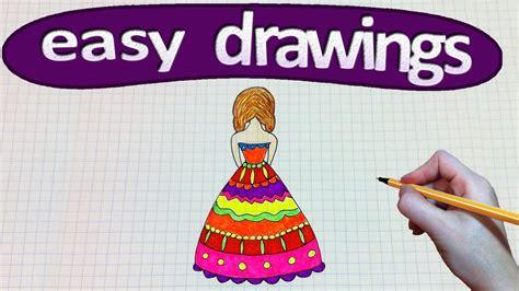 easy drawings    draw  dress drawing  kids