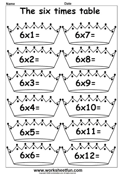 3rd grade math multiplication times tables 1 s printable