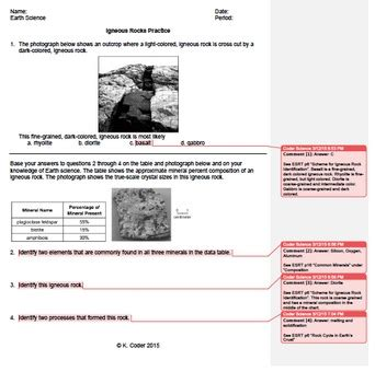 worksheet igneous rocks 2 editable with answers explained earth science