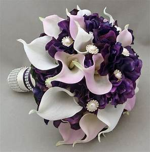 Purple Lavender Real Touch Calla Lily Wedding Bouquet Real ...