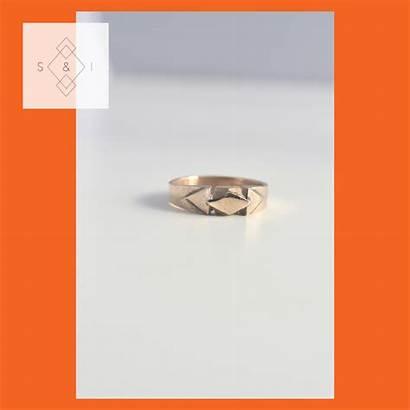 Bronze Ring Sculpted Deco Solid Rhombus Handmade