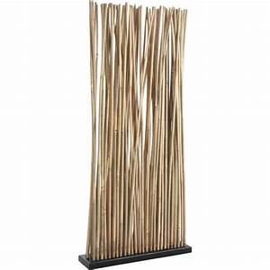Panneau Mural Decoratif Pas Cher : paravent avec socle en bois 34 tiges de bambou achat ~ Edinachiropracticcenter.com Idées de Décoration