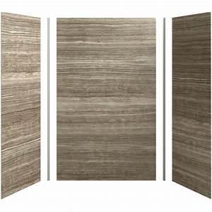 Kohler choreograph veincut sandbar shower wall surround for Pvc sheets for bathroom walls