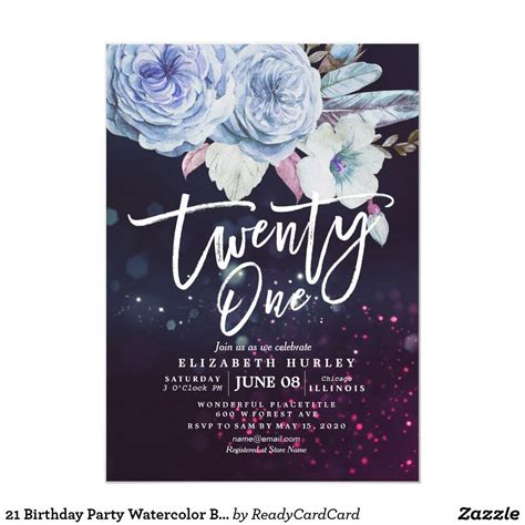 21 Birthday Party Watercolor Boho Flowers Feathers