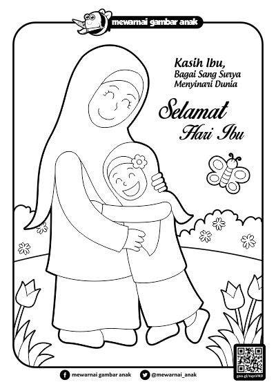 contoh gambar mewarnai ibu dan anak mewarnai